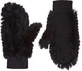 Barneys New York WOMEN'S RABBIT FUR & CASHMERE MITTENS - BLACK