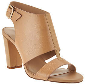 Halston H by Leather Block Heel Sandals -Catrina