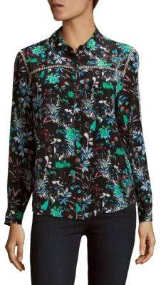 The Kooples Botanic Print Crepe de Chine Top