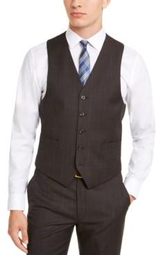Michael Kors Men's Classic-Fit Airsoft Stretch Brown/Blue Birdseye Windowpane Suit Vest