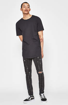 Pacsun Stacked Skinny Slit Washed Black Jeans