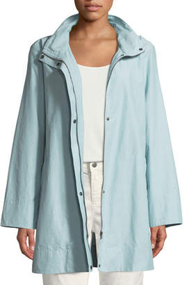 Eileen Fisher Hooded A-Line Long Outerwear Jacket, Petite