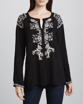 Johnny Was Collection MIrage Embroidered Blouse