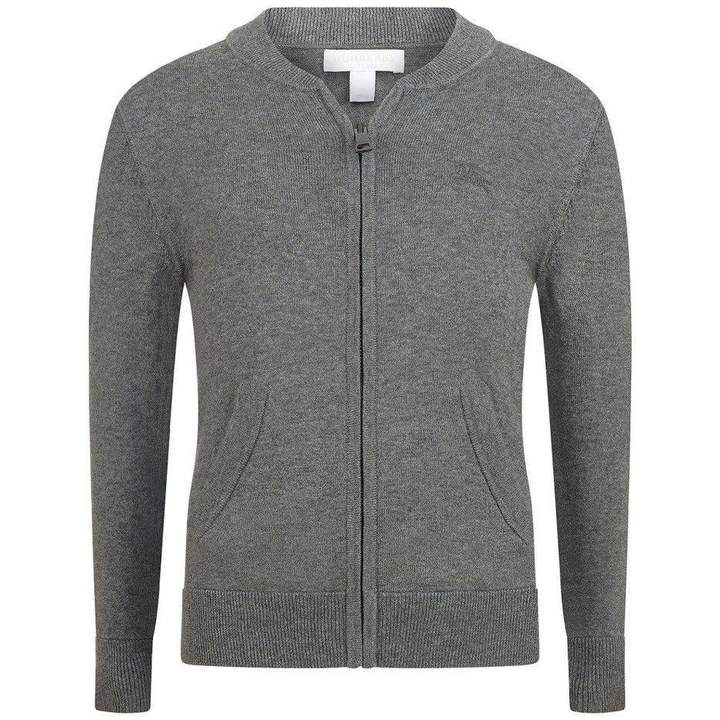 BurberryBoys Grey Cardigan With Elbow Patches