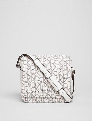 Calvin KleinCalvin Klein Womens Tina Monogram Flap Crossbody Bag White Monogram