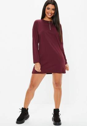 0d4711012f at Missguided · Missguided Burgundy Zip Front T Shirt Dress