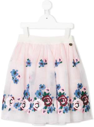 Simonetta floral embroidered tulle skirt