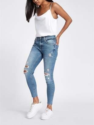 River Island RI Petite Ri Petite Distressed Skinny Jeans - Light Blue