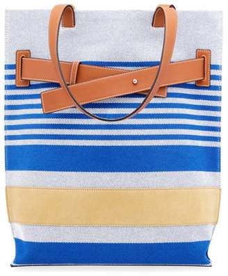 Leather Trim Striped Tote