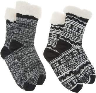 Muk Luks Jojoba Faux Shearling Cabin Socks Set of 2