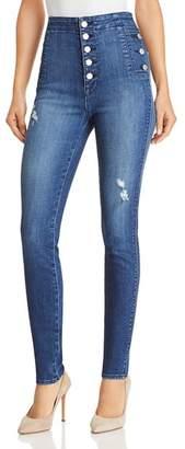 J Brand Natasha Button Sky High Skinny Jeans in Mystic Wave