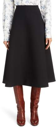 Marc Jacobs Compact Crepe Wool Blend A-Line Skirt