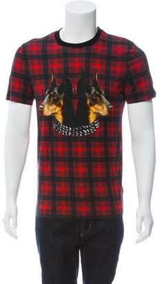 Givenchy Plaid Doberman Print T-Shirt