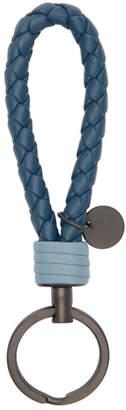 Bottega Veneta Blue Intrecciato Loop Keychain