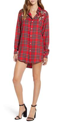 KENDALL + KYLIE Embroidered Plaid Shirtdress