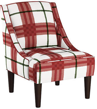 One Kings Lane Quinn Swoop-Arm Accent Chair - Red/Green