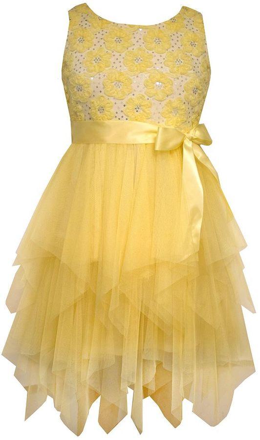 Bonnie JeanGirls 7-16 Bonnie Jean Hanky Hem Ribbon Floral Dress