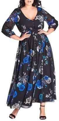 City Chic Electric Floral Print Maxi Dress
