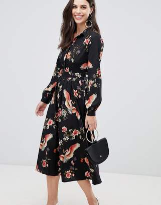 1e67b9ce050 Liquorish midi shirt dress with pleated skirt in floral print