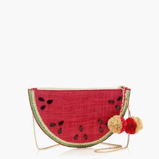J.Crew Kayu fruit clutch with pom-pom