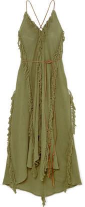 Caravana - Sayab Convertible Leather-trimmed Cotton-gauze Maxi Dress - Green