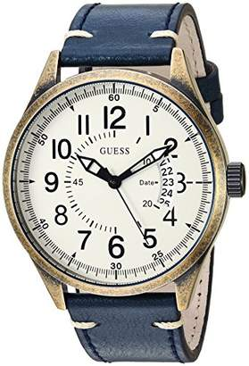 GUESS Men's Stainless Steel Leather Classic Watch