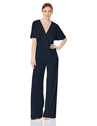 Halston Women's Flowy Cape Sleeve V-Neck Wide Leg Jumpsuit