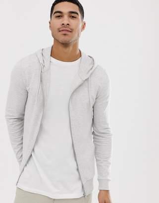 5dad28fc74821 Asos Design DESIGN muscle zip thru hoodie in white marl