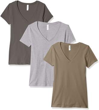 Clementine Apparel Women's Petite Plus Ideal V Neck Tee (Pack of 3), Black, XL