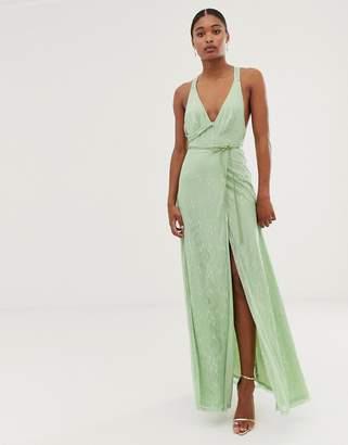Asos Design DESIGN lace wrap maxi dress with satin tie belt