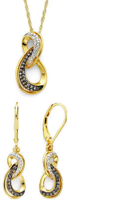 JCPenney FINE JEWELRY 1/5 CT. T.W. White and Champagne Diamond Infinity Pendant & Earring Boxed Set