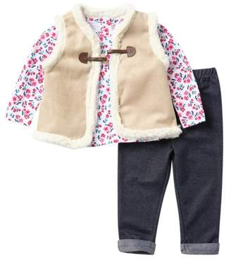 Little Me Faux Fur Vest, Top, & Legging Set (Baby Girls)