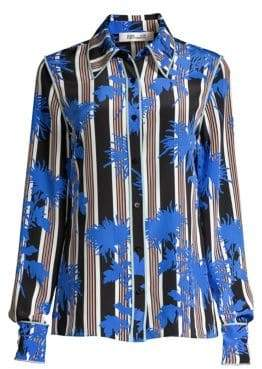 Diane von Furstenberg Stripe Button-Down Silk Shirt