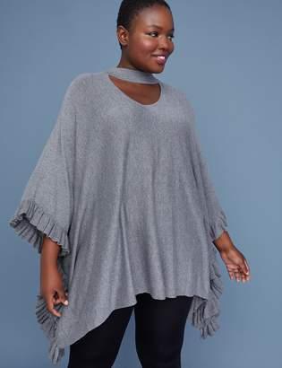 Lane Bryant Choker-Neck Poncho Sweater