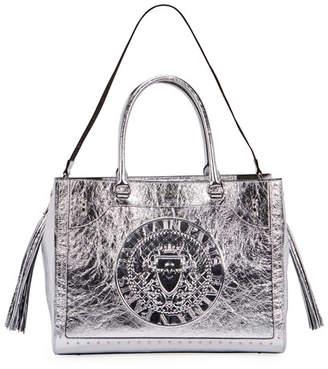 Balmain Crinkled Metallic Top Handle Bag