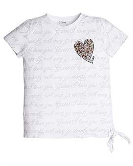 GUESS Logo With Beaded Heart T-Shirt