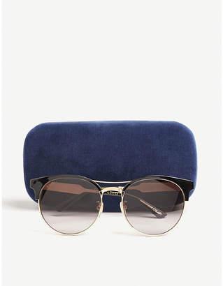Gucci Ladies Black Retro Gg0075S Round-Frame Sunglasses