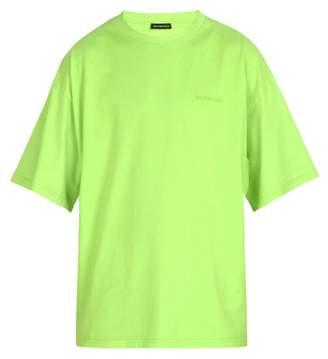Balenciaga Ego Printed Cotton T Shirt - Mens - Green