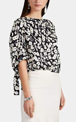 Derek Lam Women's Poppy-Print Floral Silk Jacquard Blouse - Black Multi