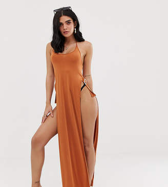 Asos Design DESIGN slinky jersey beach maxi dress with split sides & cowl back