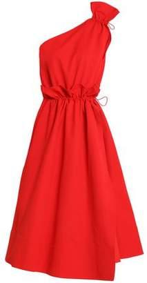 Goen.j One-Shoulder Wrap-Effect Woven Midi Dress