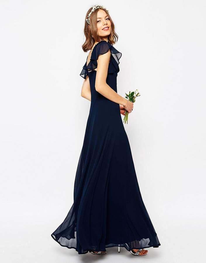 AsosASOS WEDDING Frill Shoulder Detail Maxi Dress