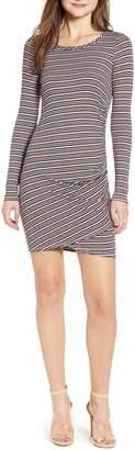 Love, Fire Ruched Stripe Minidress