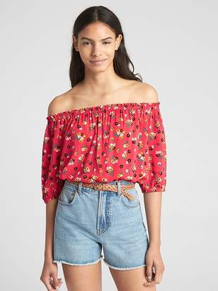 Gap Long Sleeve Floral Print Off-Shoulder Top