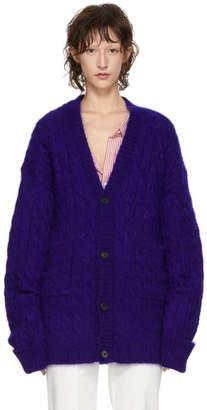 Matthew Adams Dolan Blue Mohair Oversized Cardigan