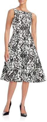 Adrianna Papell Women's Damask Fit-and-Flare Dress - White-black, Size 2
