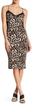 Know One Cares Lace Trim Leopard Dress