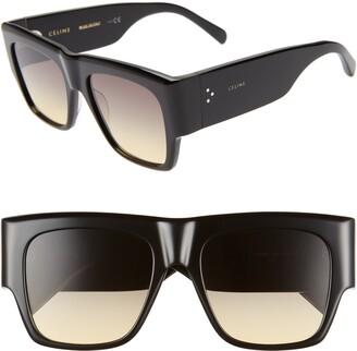 eee1d724ea376 Celine 56mm Special Fit Gradient Flat Top Sunglasses