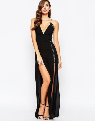 Jarlo Strappy Maxi Dress with Eyelet Detail and Thigh Splits $153 thestylecure.com