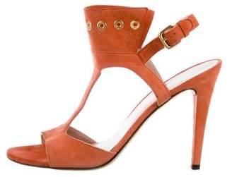Stuart Weitzman Suede Grommet Sandals